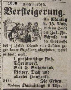 J. F. Schmid Versteigerung 1880