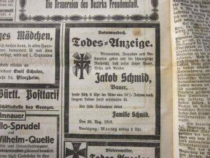 Traueranzeige Jakob Schmid 1916