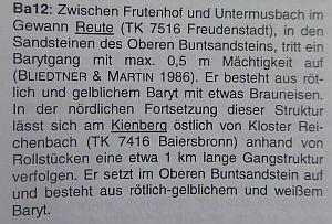 Beschreibung Barytgang bei Untermusbach