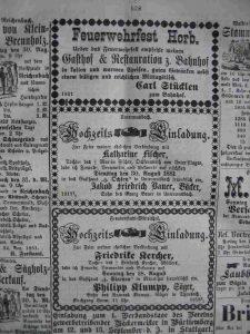 Hochzeitsanzeige 1881 J.F. Bauer und K. Fischer