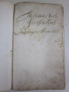 Deckblatt Untermusbach Fleckenbuch (Kaufbuch) 1715