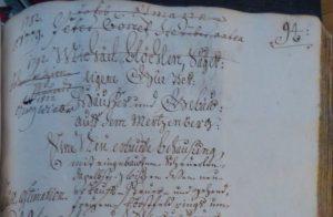 Lagerbuch von 1766, Eintrag der Eigentümer im Kopf