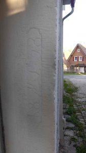 Türständer mit Eintrag eines Türsturzes ML 1838 im Anbau an Haus Nr. 22