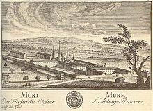 Ansicht vom Kloster Muri 1765 Entnommen aus Wikipedia