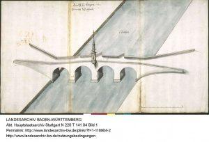 Schickhardt Zeichnung  Brücke in Köngen