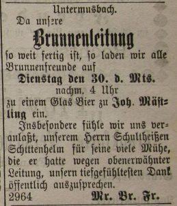 """Die neue Wasserleitung mußte dann auch zünftig im Gasthaus """"Rose"""" eingeweiht werden. Die Anzeige erschien im November 1886 im """"Der Grenzer""""."""