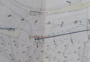Lageplan von 1888, links a oberer Talbrunnen und rechts b unterer Talbrunnen,links die Bauernsägmühle und oben Klosterstr. 21