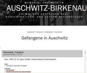 Sterbenachweis Konzentrationslager Auschwitz-Birkenau