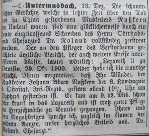 """Brief wurde im Amtsblatt """"Der Grenzer"""" am 13. Dezember 1900 veröffentlicht"""